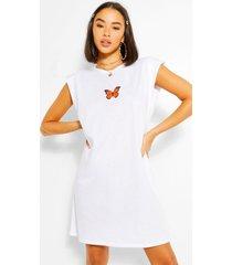 butterfly shoulder pad sleeveless tshirt dress, white