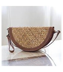 palm and leather accent wristlet bag, 'mixteco honey' (mexico)