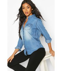 supersoft denim shirt, mid blue