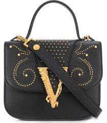 versace virtus western dual tote bag - black