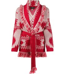 alanui patterned intarsia belted cardigan - red