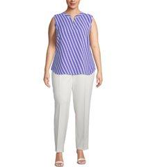 anne klein plus size sleeveless striped split-neck top