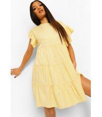 petite gesmokte mini jurk, yellow
