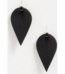 maurices womens black faux leather folded teardrop earrings