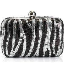 bolsa clutch liage festa bordada estampada paete alça removivel metal preta e prata