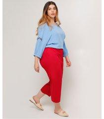 pantalón unicolor tallas grandes tipo capri color rojo rojo 22