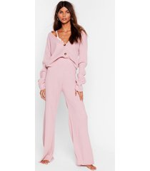 womens in a knit second cardigan and wide-leg pants set - mink