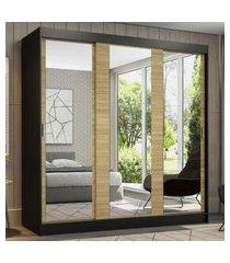guarda-roupa casal madesa reno 3 portas de correr de espelho - preto/carvalho marrom