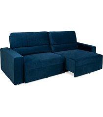 sofá 4 lugares herval village, reclinável e retrátil, veludo molhado azul