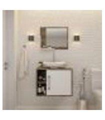 conjunto para banheiro gabinete com cuba folha l38 e espelheira soft 600 carvalho dark com branco
