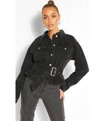 belted jean jacket, washed black