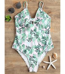 high leg leaves pattern swimsuit