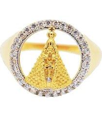 anel nossa senhora dourada cravejada com cristais zircônias banhado a ouro 18k - tricae