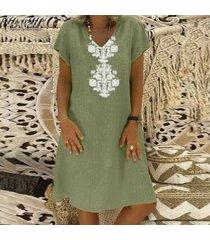 zanzea las mujeres de manga corta con cuello en v de la impresión floral del mini vestido de larga camisa de vestir vestido de tirantes más del tamaño -verde