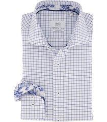 overhemd eterna modern fit blauw wit