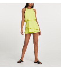 river island womens lime racer neck frill playsuit