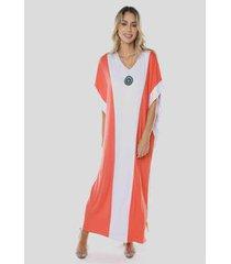 vestido sob longo viscose bicolor feminino - feminino