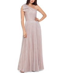 xscape one-shoulder allover-glitter gown