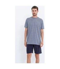 pijama manga curta listrada | viko | azul | m