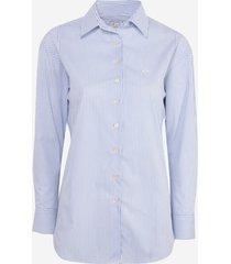 camisa dudalina manga longa tricoline fio tinto recorte feminina (listrado, 46)