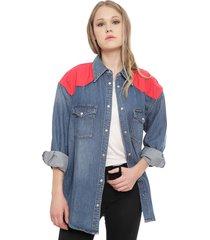 blusa calvin klein jeans denim azul - calce oversize