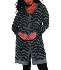 belldini black label women's plus size metallic button down duster cardigan