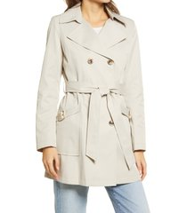 women's via spiga water resistant belted trench coat with removable hood, size x-large - white