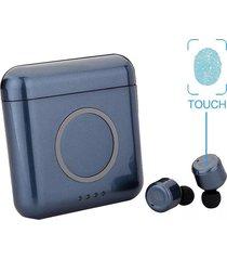 audifonos bluetooth inalámbricos estéreo con mic caja de carga-azul