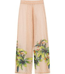 amir slama silk printed trousers - neutrals