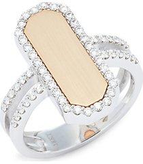 18k two-tone gold, ruby & diamond ring
