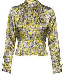heavy satin blouse blus långärmad multi/mönstrad ganni