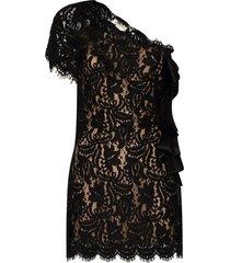 black asymmetric lace dress