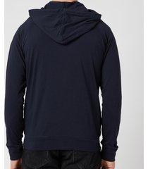 ps paul smith men's tape zip through hooded sweatshirt - inky - l