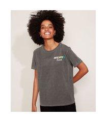 "camiseta feminina mickey's friends"" manga curta decote redondo cinza"""