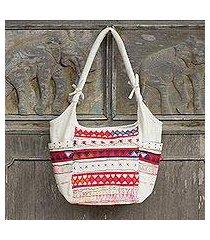 cotton shoulder bag, 'lahu carnival' (thailand)