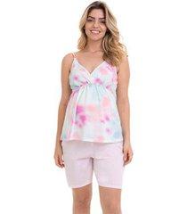 pijama bermudoll maternidade com algodão luna cuore feminino