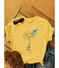 camicetta a maniche corte plus stampa fiori libellula