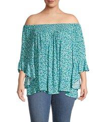 plus floral off-the-shoulder top