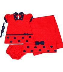kit saãda maternidade vestido de bola - verive - vermelho - multicolorido - dafiti