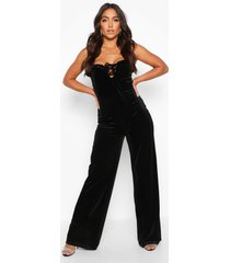 velvet ruffle shoulder wide leg jumpsuit, black