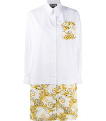 versace jeans couture baroque shirt dress - white