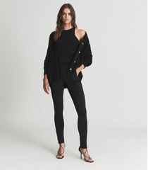 reiss dana - zip detail ponte jersey leggings in black, womens, size xl