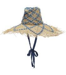 weaved denim straw floppy hat