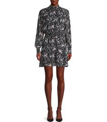 allison new york women's floral-print smocked dress - black multi - size m