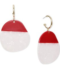 gold-tone colorblock resin charm hoop earrings, created for macy's
