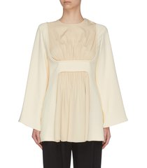'polina' gathered panel silk crepe top