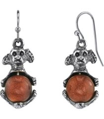 2028 pewter round semi precious gold stone puppy dog wire earrings