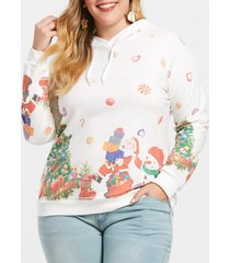plus size printed christmas pullover hoodie