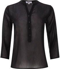blusa unicolor translucida color negro, talla m