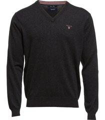 cotton wool v-neck stickad tröja v-krage svart gant